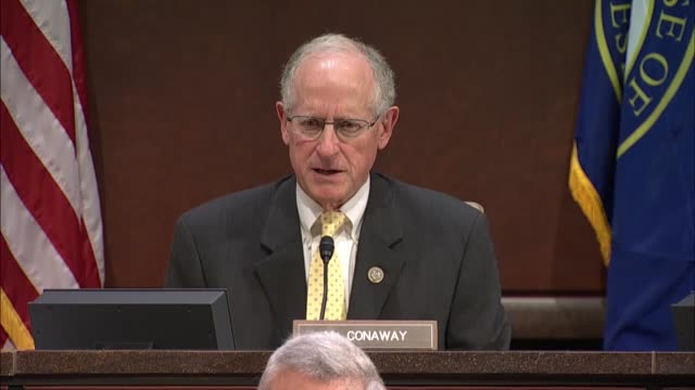 Acting chairman of a Russia task force on the house Intelligence Committee Mike Conaway of Texas begins questioning at a public hearing of the...