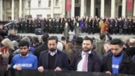 Acting Commissioner of the Metropolitan Police Craig Mackey Home Secretary Amber Rudd MP and Mayor of London Sadiq Khan stand in silence during a...