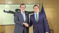 Acting Spanish Prime Minister Mariano Rajoy meets Albert Rivera the leader of centre right party Ciudadanos on forming a government in a bid to...