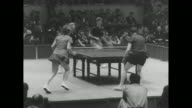 Action in womenÍs doubles final of the World Table Tennis Tournament in Tokyo / WV action in mixed doubles final Leah Neuberger and Erwin Klein of US...