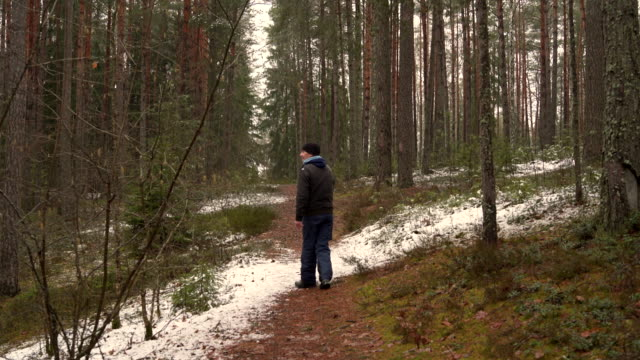 Active 70-years-old senior man walking in the winter forest