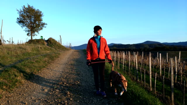 Active Adult Woman Running Thru Vineyards With Her Dog