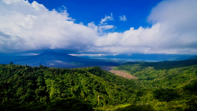 Active Indonesian volcano Batur in the tropical island Bali, Indonesia