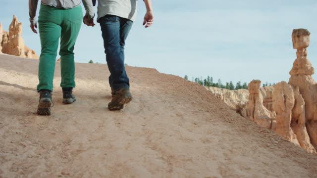 4K UHD: Active Seniors Hiking Bryce Canyon's Edge