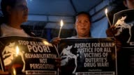Activists and relatives hold a protest in front of the Department of Justice building in Manila condemning the death of 17 year old student Kian...