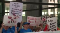 WGN Activists protest in Chicago on July 6 2017 against Donald Trump's budget plan for the Department of Housing and Urban Development which would...