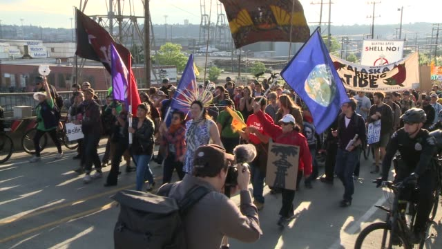 Activists protest Shell's plans to drill in the Arctic in the summer of 2015 by blockading the entrance to Terminal 5 at the Port of Seattle where...