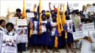 Activists rally to mark the 30th anniversary of the Indian militarys 1984 assault on the Golden Temple in Amritsar aimed at flushing out militants...