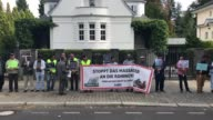Activists stage a demonstration in support of Rohingya Muslims and condemn ongoing violence against the Muslim minority by Myanmar's army and...