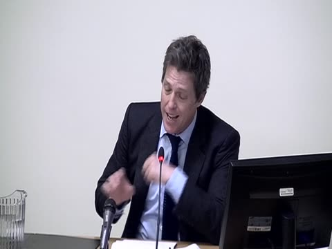 Actor Hugh Grant suggests to the Leveson Inquiry that the Mail on Sunday hacked into voicemail messages on his mobile phone