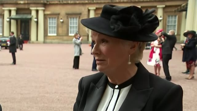 Actor Julie Walters is made a Dame by the Queen Buckingham Palace EXT Dame Julie Walters interview SOT/ Julie Walters photocall holding Dame...