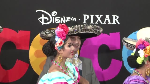 Actors and crew grace the red carpet at the premiere of Coco Disney Pixar's latest animation film