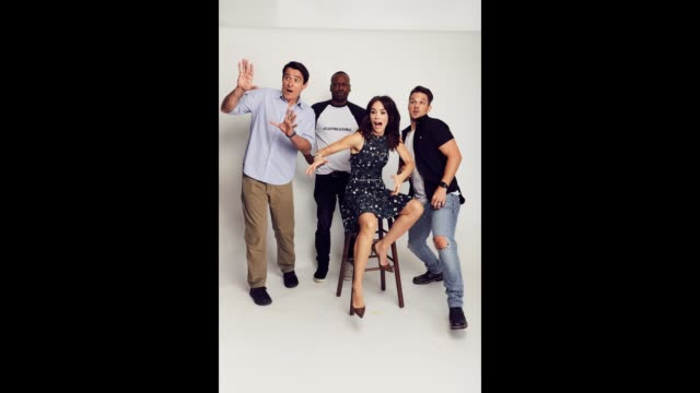 Actors Goran Visnjic Malcolm Barrett Abigail Spencer and Matt Lanter from NBC's 'Timeless' pose for a portrait gif during ComicCon 2017 at Hard Rock...