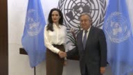 US actress and Special Envoy to the United Nations High Commissioner for Refugees Angelina Jolie meets with the United Nations Secretary General...