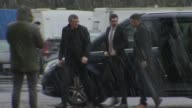 Yorkshire Bradford Crown Court Adam Johnson out of car and along to court / unidentified woman and man along to court