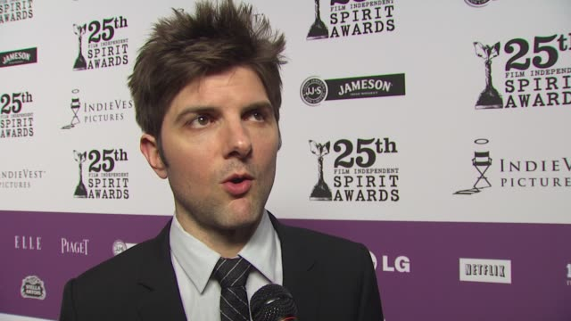 Adam Scott on tonight's Independent Spirit Awards on attending an award show that serves Jameson on the red carpet on his Oscar plans and on who he'd...