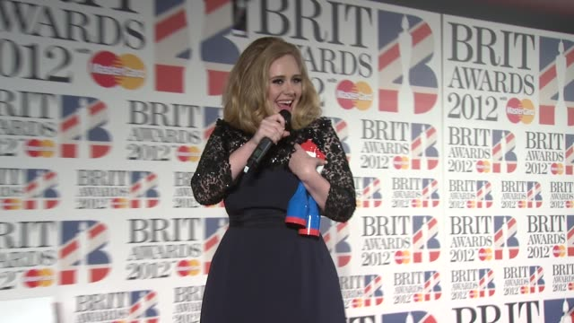 Adele at the Brit Awards 2012 Press Room at the O2 Arena London UK on February 21 2012