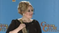 SPEECH Adele on how she feels about winning this award at 70th Annual Golden Globe Awards Press Room 1/13/2013 in Beverly Hills CA