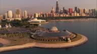 Adler Planetarium overlooks the skyscrapers of Chicago, Illinois.