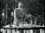 Adolf Hitler in Nazi uniform walking w/ Hemann Goering huge crowd saluting Hitler giving SHORT speech on podium PAN Huge saluting crowd NIGHT Crowd...
