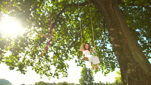 HD DOLLY: Adorable Little Girl Swinging On Tree Swing