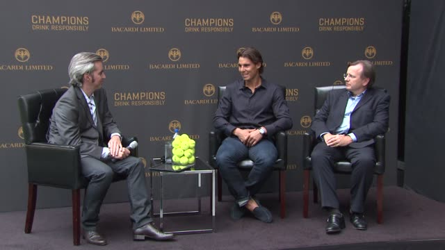 Adrian Atkinson and Robert FurnissRoe listen as Rafael Nadal explains why last year was very emotional at the Bacardi Limited Celebrates Tennis...