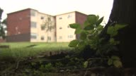 Hearing told police 'failed in duty of care' Stoke Chesterton EXT Trees TILT DOWN Wide shot block of flats and trees Window of flat Low angle...