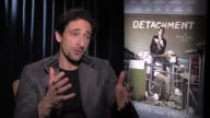 Adrien Brody on what attracted him to executive produce and star in this film says his father was a public school teacher in New York at DETACHMENT...