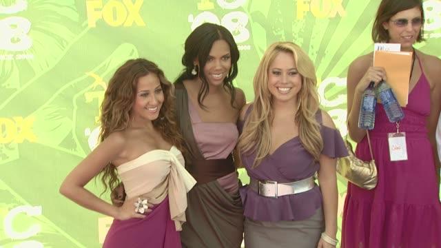 Adrienne Bailon Kiely Williams and Sabrina Bryan at the 2008 Teen Choice Awards at Los Angeles CA