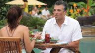 MS Adult Couple on Vacation Dining at Resort Restaurant / Richmond, Virginia, USA