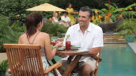 WS PAN Adult Couple on Vacation Dining at Resort Restaurant / Richmond, Virginia, USA