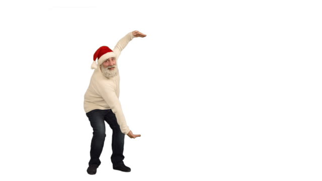 adult senior beard man showing an copy space and  crosses his arms in a hat santa claus  on a white background