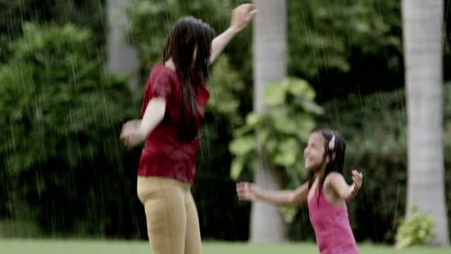Adult woman enjoying in the rain with her daughter, Delhi, India