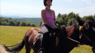 Adult woman riding brown horse wearing helmet in mountains