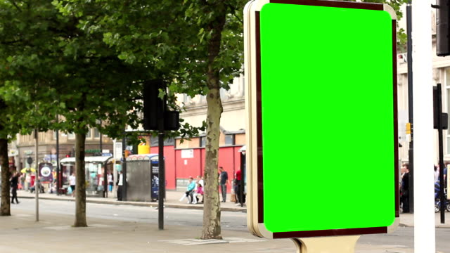 Advertising Billboard Green screen - With people passing by