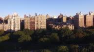aerail view of new york city at sunset. skyline establishing shot
