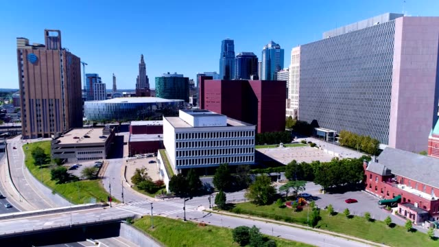 Aerial 4K video from southeast corner of downtownKansas City, Missouri.