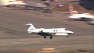 Aerial CU TS air to air with Lear Jet / Los Angeles International Airport, California, United States