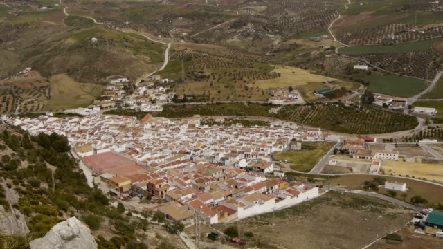 TL Aerial. Andalusian Village near El Chorro, Spain.