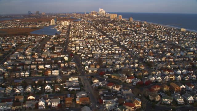 Aerial approach from Ventnor City north towards Ventnor city pier with Atlantic City, NJ in the distance. Shot in 2011.
