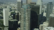 Aerial Approach Slow Tilt Down Downtown Los Angeles