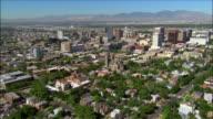 Aerial approaching downton Salt Lake City, Utah