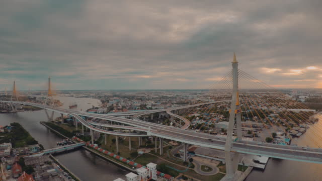 Luftbild von Bangkok in der Bhumibol Bridge