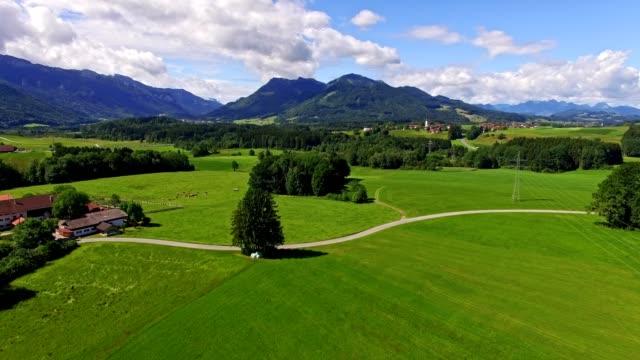 Aerial: Bavarian landscape in summer