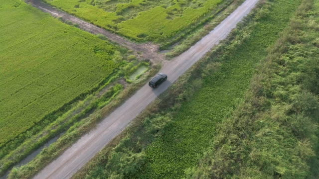 Aerial: Black SUV car driving along green fields