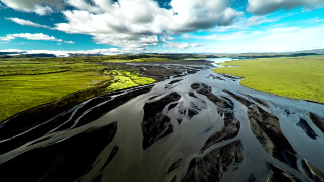 Aerial Braided River Landscape in Iceland