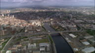 Aerial bridges over River Clyde in central Glasgow, Scotland