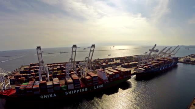 Aerial California Ocean Shipping Yard