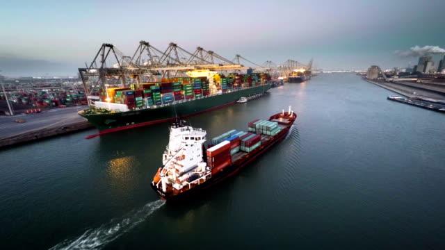 Aerial Cargo Container Ship