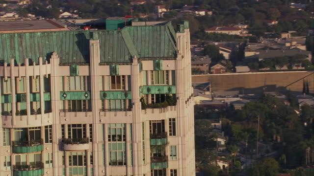 Aerial TS CU Chateau Marmont Hotel/ West Hollywood, California, United States